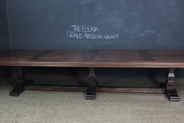 "Walnut Timber Pedestal Base Table. ""The Elena Table""."