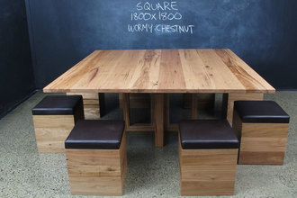 Wormy Chestnut Square Table And Upholstered Timber Cube Seats