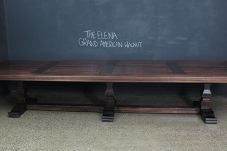 Walnut Timber Pedestal Base Table - The Elena Table