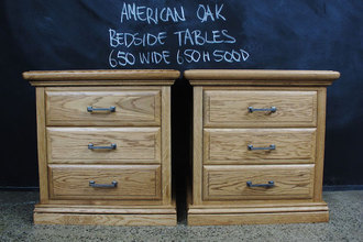 Traditional American Oak Bedside Tables